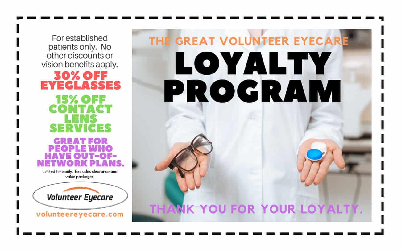 volunteer eyecare loyalty program coupon