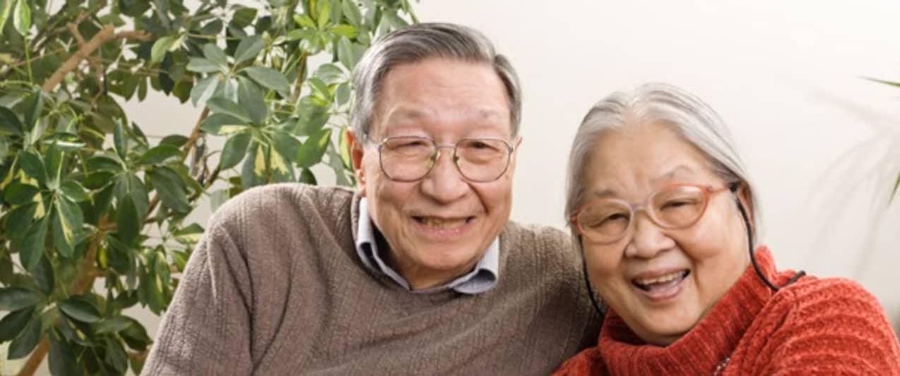elderly couple with eyeglasses